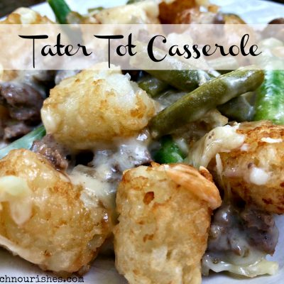 Tater Tot Casserole -- Ultimate comfort food. Made with just a few pantry ingredients, this meal comes together in minutes and nourishes body and heart. | thatwhichnourishes.com