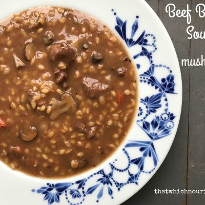 Beef Barley Soup with Mushrooms -- Thick and hearty, loaded with chunks beef and mushrooms, this soup is easy to put together and will quickly become your go-to pot of comfort food. | thatwhichnourishes.com