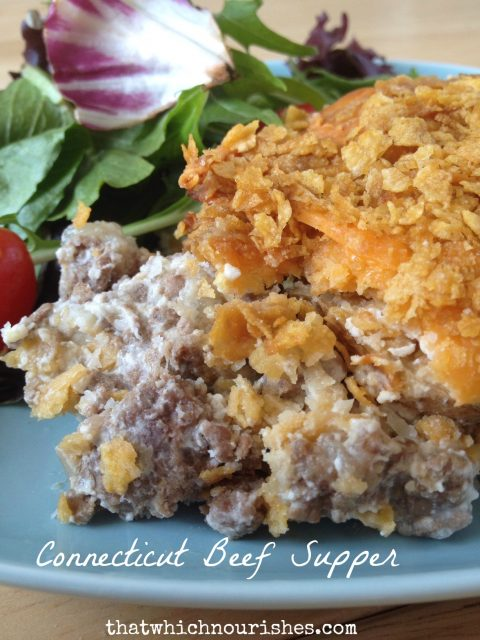 Connecticut Beef Supper --  Classic comfort food you will crave all year long.  Layers of ground beef, potatoes, and a creamy sauce covered in cheese and corn flakes, this is a go-to family recipe. | thatwhichnourishes.com