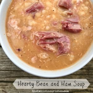 Hearty Bean and Ham Soup -- A thick and hearty soup made with a leftover ham bone and white beans. A few ingredients dropped in a pot turns into a rich, savory, nourishing dinner. | thatwhichnourishes.com