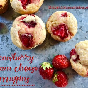 Strawberry Cream Cheese Muffins -- Cream cheese makes these muffins special with a softer, lighter texture than other muffins. Strawberries take them over the top to make them the best muffins you'll ever eat.   thatwhichnourishes.com