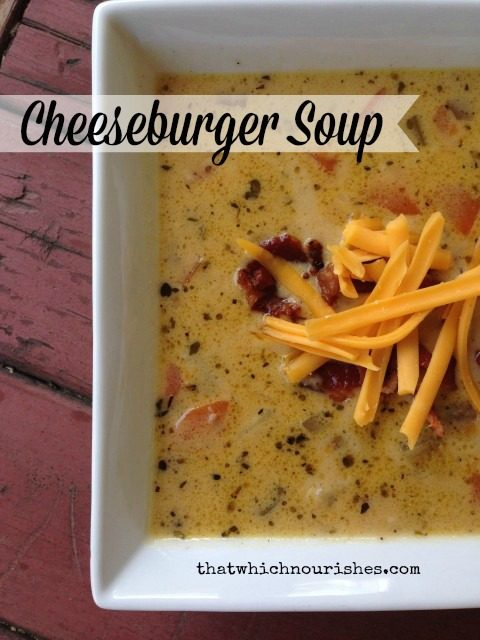 Cheeseburger Soup -- Yummy, cheesy, gooey, everyone-friendly, cheesy, burgery soup. | thatwhichnourishes.com
