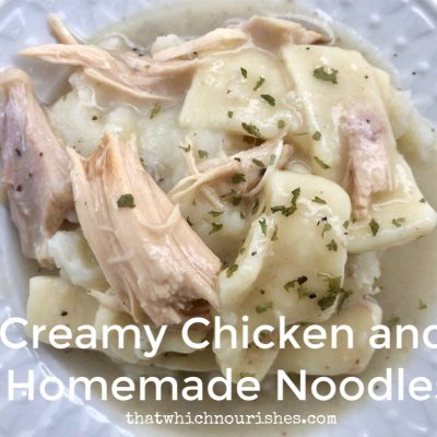 Creamy Chicken and Homemade Noodles -- Tender chicken floats in creamy gravy and homemade noodles served over mashed potatoes. This is comfort food at its finest. | thatwhichnourishes.com