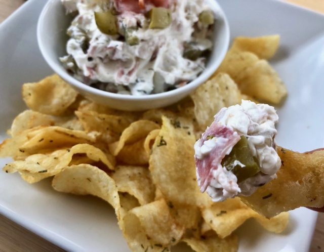 Dill Pickle Dip -- Does it get better than dill pickles, garlic and ham combined to make your potato chips happier than they've ever been? Forget French Onion. Pickle Dip is the way to dip! | thatwhichnourishes.com