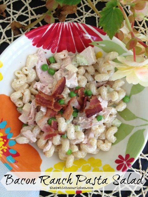 Bacon Ranch Pasta Salad -- Smoky bacon, chicken, chunks of cheese, and a creamy ranch dressing make this pasta salad a quick lunch, easy dinner, or perfect side dish.   thatwhichnourishes.com