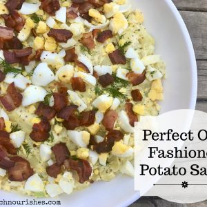 Perfect Old Fashioned Potato Salad -- Classic ingredients like mayo and mustard, onions and celery, bacon, eggs and potatoes come together in a marriage made most certainly in the summertime. | thatwhichnourishes.com