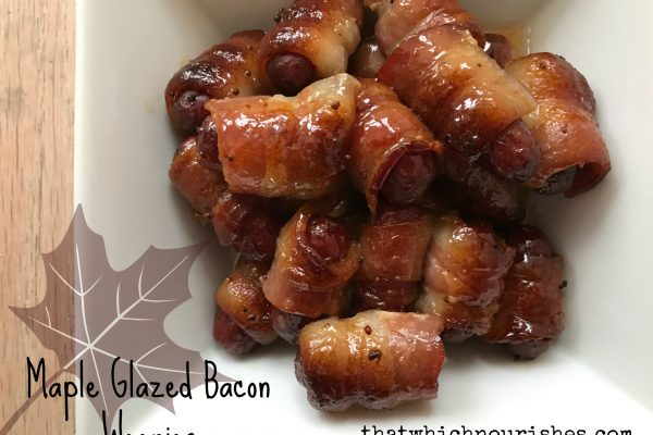 Maple Glazed Bacon Weenies -- Little smokes turn into little bites of drool-worthy yum when they are wrapped in a bacon and caramelized in a sweet and savory maple mustard glaze | thatwhichnourishes.com