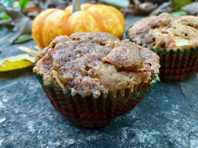 Pumpkin Apple Streusel Muffins -- All the fall flavors come to life in these pillowy soft pumpkin muffins studded with chunks of baked apple and blanketed with a drool-worthy streusel topping. | thatwhichnourishes.com