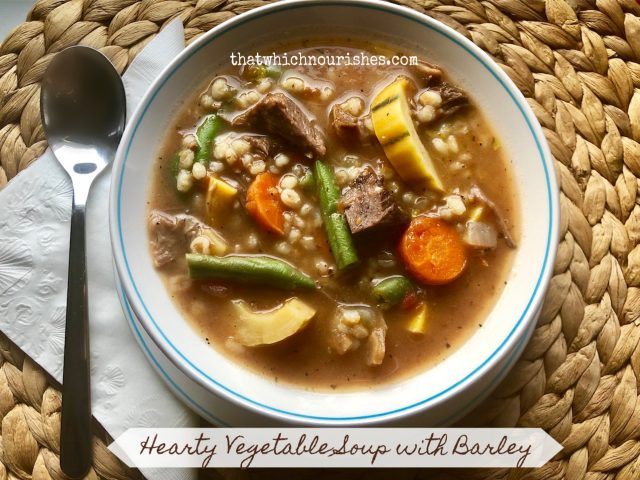 Hearty Vegetable Soup with Barley -- Savory, flavorful soup packed with veggies, made hearty by barley, and featuring ground beef or leftover beef or pork roast. | thatwhichnourishes.com