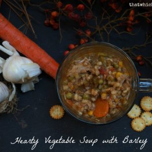 Hearty Vegetable Soup with Barley -- Savory, nutritious, and full of spices, vegetables, and leftover pork roast, beef roast, or ground beef | thatwhichnourishes.com