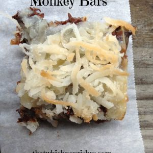 Monkey Bars -- Bananas, chocolate, coconut, and yum! These little bars pack a punch of all the good things you crave. Reminiscent of seven layer bars, these guys have a leg-up because of banana! | thatwhichnourishes.com