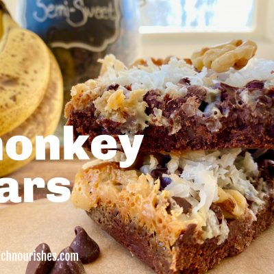 Monkey Bars -- Bananas, chocolate, coconut, and caramelized yum! Like a seven-layer bar with a leg-up because of banana! | thatwhichnourishes.com