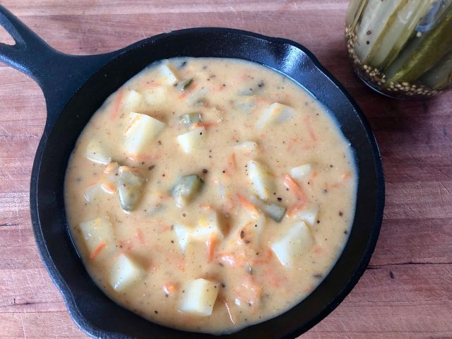 Dill Pickle Soup -- A hearty, delicious twist on soup starring the delightful dill pickle! Easy to make with pantry ingredients and easy on the budget as well!   thatwhichnourishes.com