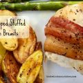 Bacon Wrapped Stuffed Chicken Breasts -- Flavored cream cheese fills a tender chicken breast wrapped in crispy bacon. A simple recipe that is elegant and delicious. | thatwhichnourishes.com