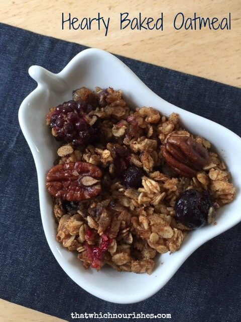 Hearty Baked Oatmeal -- This oatmeal is baked with fruit, nuts, cinnamon and spice and everything nice and makes one spectacular start to a day. | thatwhichnourishes.com