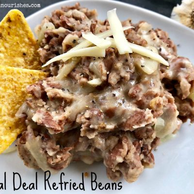 Real Deal Refried Beans -- Real-deal because they are cooked from scratch and flavored with garlic, onions, butter, and bacon to make the thickest, heartiest, most flavorful beans you may have had to date. | thatwhichnourishes.com