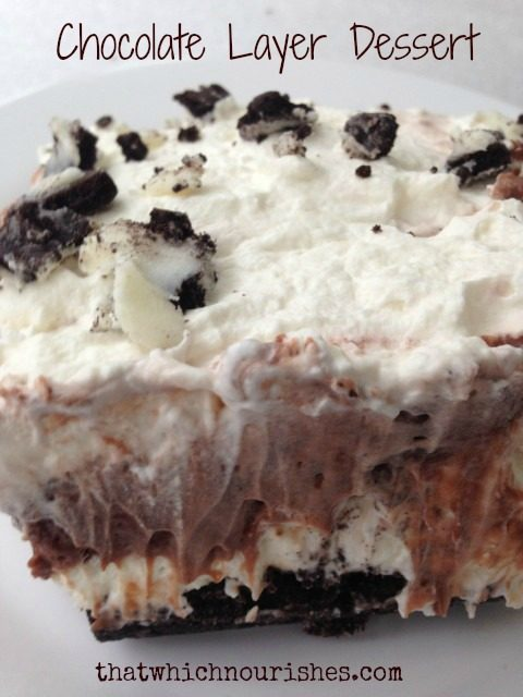 Chocolate Layer Dessert -- With a chocolate sandwich cookie crust and layers of homemade whipped cream and chocolate pudding, this dessert is a crowd-pleaser every single time. | thatwhichnourishes.com