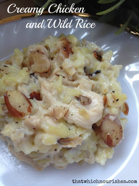 Rice -- Tender bites of chicken are nestled into a decadent sauce and savory wild rice. | thatwhichnourishes.com