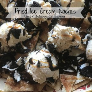 Fried Ice Cream Nachos -- Cinnamon crisps, vanilla ice cream, chocolate sandwich cookies, hot fudge and caramel. All the flavors of Fried Ice Cream with much less work! | thatwhichnourishes.com
