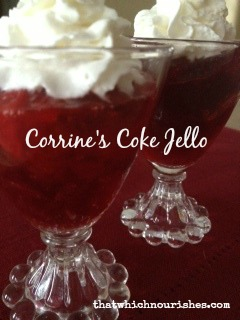 Corrine's Coke Jello -- cherry pie filling, cola, and cherry jello combine to make a unique and delicious side or dessert | thatwhichnourishes.com