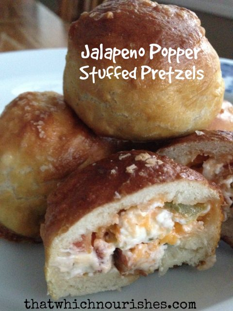 Jalapeño Popper Stuffed Pretzels -- Bacon, jalapeños, and cream cheese star in these easier-to-make-than-you-think homemade pretzel bites | thatwhichnourishes.com