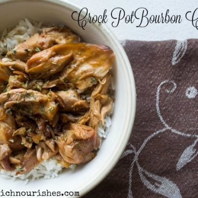 Crock Pot Bourbon Chicken -- The crock pot meal you dream of. Chicken thighs bathe in flavors that will make your mouth sing and your dinner easy as can be. Make the whole family happy with this meal! | thatwhichnourishes.com