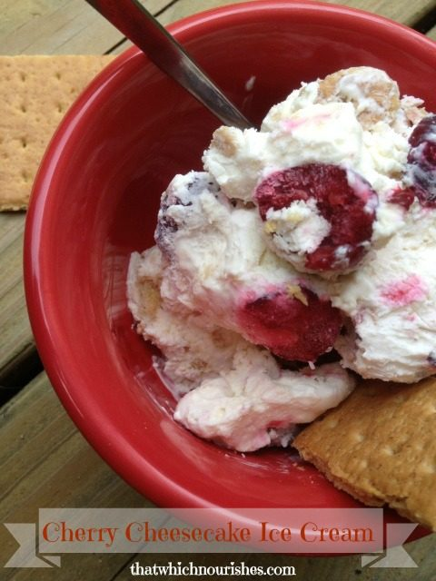 Cherry Cheesecake Ice Cream -- You don't need an ice cream maker to make this ice cream loaded with tart cherries and graham crackers for easy summer deliciousness! | thatwhichnourishes.com