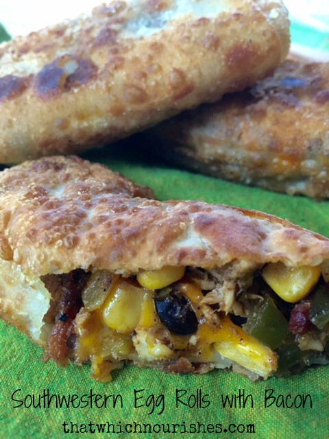 Southwestern Egg Rolls with Bacon -- these flavor-packed homemade egg rolls are an easy, versatile way to stretch a dollar and make everyone's taste buds happy. Bacon, beans, spices, a bit of chicken and cheese make a delicious lunch or appetizer   thatwhichnourishes.com
