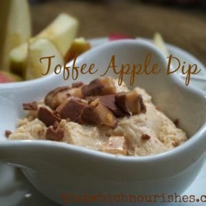 Toffee Apple Dip -- Tangy cream cheese gets sweetened and jazzed up with spices and toffee bits. | thatwhichnourishes.com