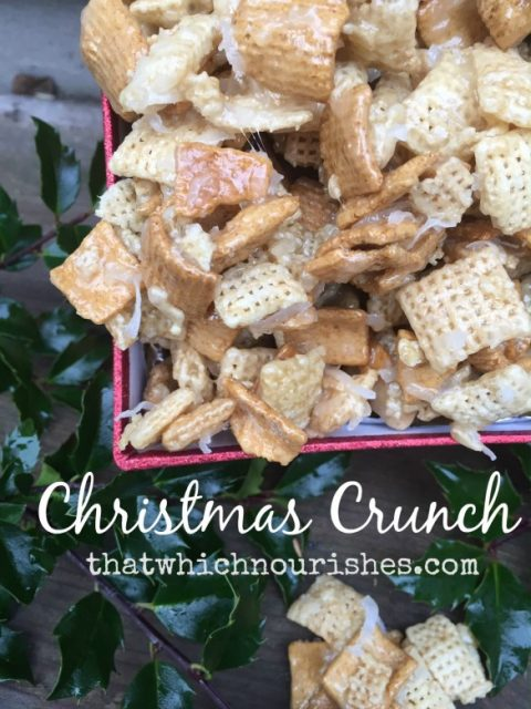 Christmas Crunch -- Gooey, sweet, crunchy, can't leave it alone amazingness. One bite and you'll be hooked!! Sorry, not sorry! | thatwhichnourishes.com
