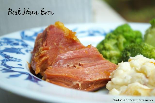 Best Ham Ever -- Just two ingredients and you have a cost-efficient, succulent, juicy ham to serve a crowd. My family's favorite meal! | thatwhichnourishes.com