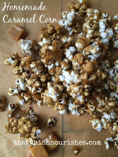 Hot, homemade caramel drizzled over freshly popped popcorn and baked until hot and crunchy! This is the stuff right here. Perfect for gifting or just happily munching. | thatwhichnourishes.com