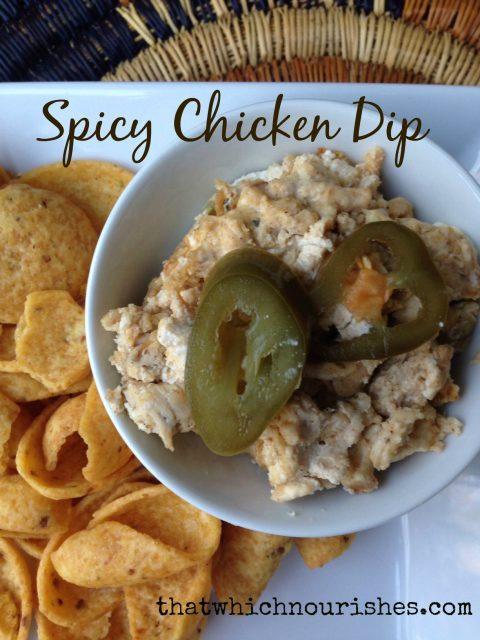 Spicy Chicken Dip --Two cheeses melted in with spices, chicken, and jalapeños to your taste make this dippably perfect with tortilla chips or crackers. | thatwhichnourishes.com