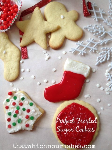 Perfect Frosted Sugar Cookies --there is just no substitute for the perfect frosted sugar cookie. Easy to make. Even easier to eat decorate; this one is a classic that hasn't failed me yet. And they stack once they've dried so they are easy to package and store! | thatwhichnourishes.com