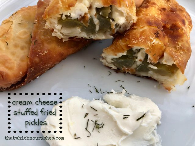 Cream Cheese Stuffed Fried Pickles -- Because what could be better than the crunch of a salty pickle tucked in a blanket of cream cheese and wrapped and fried in healthy oil? Three ingredients and you have an easy showstopper!   thatwhichnourishes.com