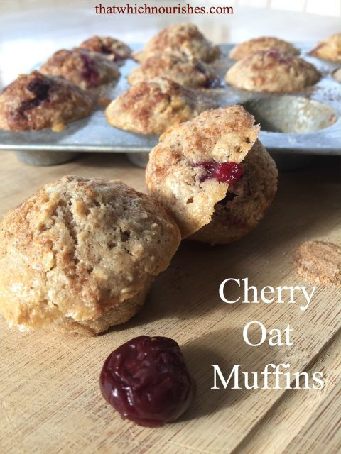 Cherry Oat Muffins -- Hearty oat muffins, studded with whole tart cherries and a hint of almond extract, these make the perfect snack. | thatwhichnourishes.com