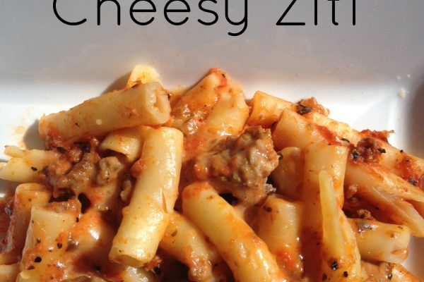 Cheesy Ziti -- Meat and pasta meet prepared red sauce, mozzarella, and seasonings and with a quick mix and bake you have gooey, cheesy yum. | thatwhichnourishes.com