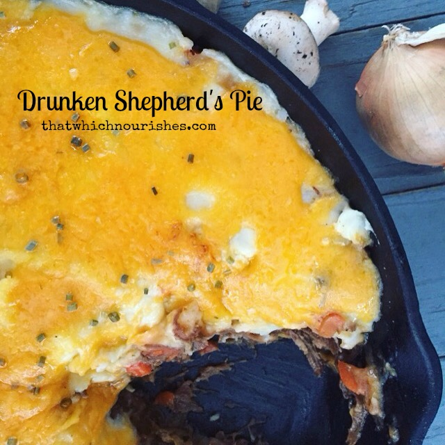 Drunken Shepherd's Pie -- Shepherd's pie ramped up several notches with added layers of flavors and spices. Comfort food at its finest with layers of roast beef braised in beer, tender vegetables, and cheesy mashed potatoes.   thatwhichnourishes.com