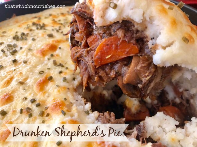 Drunken Shepherd's Pie -- Shepherd's pie ramped up several notches with added layers of flavors and spices. Comfort food at its finest with layers of roast beef braised in beer, tender vegetables, and cheesy mashed potatoes. | thatwhichnourishes.com