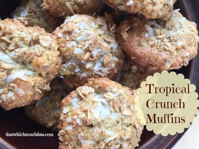Tropical Crunch Muffins -- Packed with bananas, coconut, and a crunchy granola surprise, these moist and tender muffins are exactly the little escape and ordinary day needs. | thatwhichnourishes.com