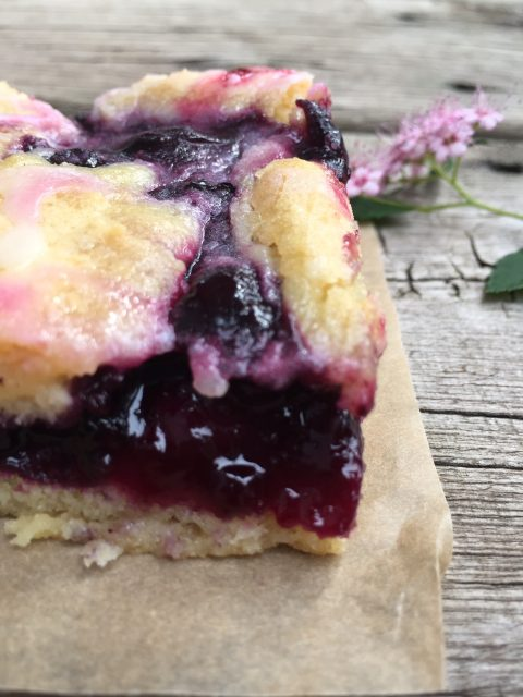Lemony Blueberry Bars -- Rich, gooey, yummy blueberry filling ribboned into a cake that's so decadent it passes even through these lips that hate cake. Add the lemony glaze that reminds me of lemon pound cake and you have dessert perfection. | thatwhichnourishes.com