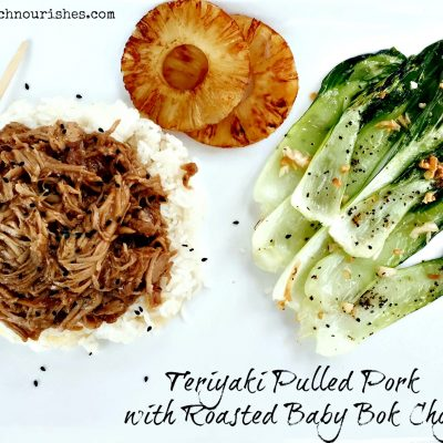 Teriyaki Pulled Pork and Roasted Baby Bok Choy -- Pork and pineapple is just a winning combination, and with the addition of Pineapple Coconut Rice, and Roasted Baby Bok Choy on the side, it's pretty hard to beat An easy crock pot meal for a weeknight or guests! | thatwhichnourishes.com