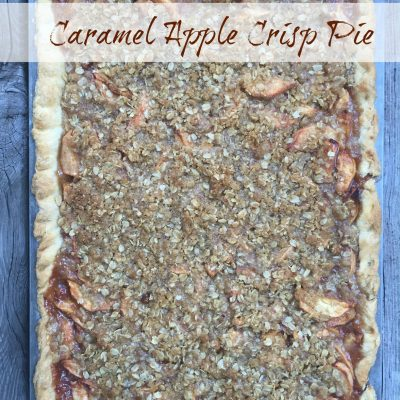 Caramel Apple Crisp Pie -- If Apple Crisp and Apple Pie had a baby and you smothered it with caramel or glaze, this would be the yummy baby | thatwhichnourishes.com