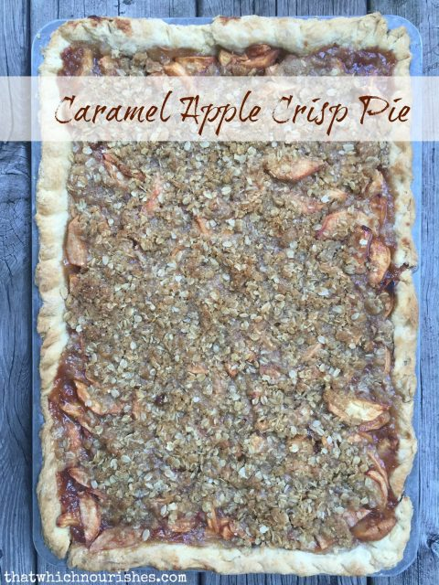 Caramel Apple Crisp Pie -- If Apple Crisp and Apple Pie had a baby and you smothered it with caramel or glaze, this would be the yummy baby. A tender flaky crust holds apple pie at its cinnamon finest and then is covered with apple crisp topping and drizzled with caramel or a powdered sugar glaze. | thatwhichnourishes.com
