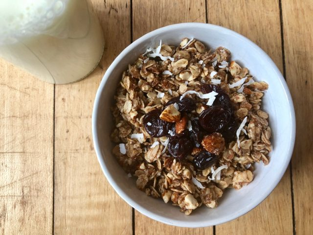 Maple Cinnamon Granola -- You just can't stop eating this stuff! Somewhere between crunchy and chewy, this granola is packed with honey, almonds, oats, coconut oil, and cinnamon -- and a ton of nourishment. | thatwhichnourishes.com