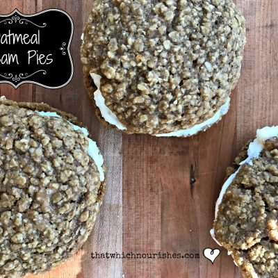 Oatmeal Cream Pies -- Pillowy soft buttery frosting is sandwiched between two soft oatmeal cookies spiced to perfection. | thatwhichnourishes.com