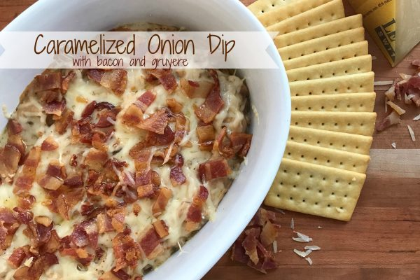 Caramelized Onion Dip with Bacon and Gruyere -- How can you go wrong with caramelized onions, bacon, and gruyere mixed into a savory cream cheese based dip everyone will drool over! | thatwhichnourishes.com