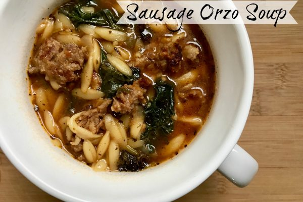 Sausage Orzo Soup -- Filled with sausage, kale, and orzo pasta, this savory soup has a punch of flavor and heartiness in a quick and simple soup that can be ready in under a half an hour. | thatwhichnourishes.com