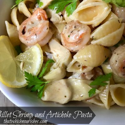 One Skillet Shrimp and Artichoke Pasta -- Shrimp, artichokes, Parmesan, and lemon combine to make a quick, easy meal with clean-up a snap as everything comes together in one scrumptious skillet ready in less than 20 minutes. | thatwhichnourishes.com