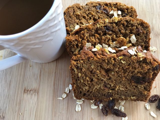 Pumpkin Oat Bread with Raisins -- All the goodness you crave in a pumpkin bread without all of the ingredients you don't. Loaded with oats, raisins, and spices, this is our go-to, good choice, fruit bread good for every season. | thatwhichnourishes.com